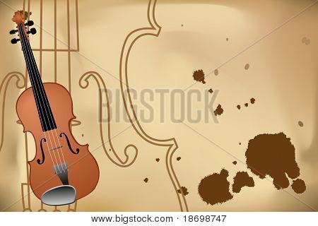Vector illustration of violin on brown background