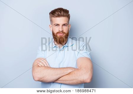Barbershop Advertising. Close Up Portrait Of Severe Hot Red Bearded Guy With Stylish Hairdo. He Is S