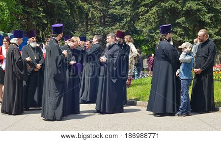 PYATIGORSK, RUSSIA - MAY 09, 2017: Priests in traditional clothes on the street