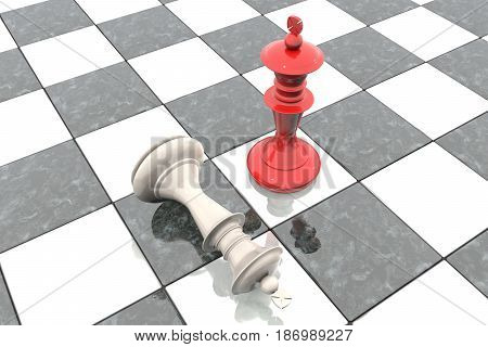 3d illustration: Two chess figures on the playing field. Red king is a winner and a loser white lies prostrate at his feet. Fallen. Marble Board. Business strategy concept. intellectual sport.