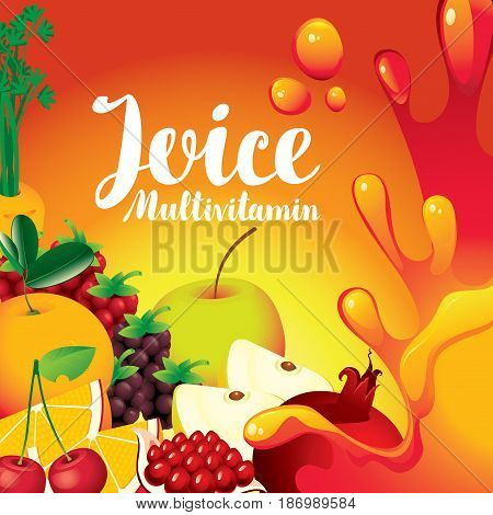vector label for packaging of juice with different fruits and berries and inscription fresh juice multivitamin on orange background