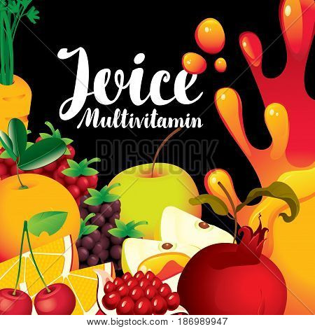vector label for packaging of juice with different fruits and berries and inscription fresh juice multivitamin on black background