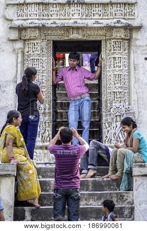 Ranakpur India september 11 2010: Indian people visiting and making photo in temple of Ranakpur in India.