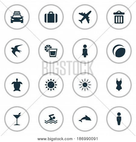 Vector Illustration Set Of Simple Beach Icons. Elements Swimming Man, Beverage, Woman And Other Synonyms Missus, Sunshine And Luggage.