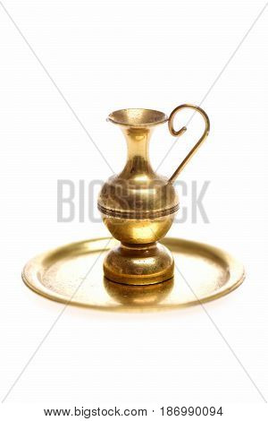 Antique Brass Vase On Golden Tray Isolated On White