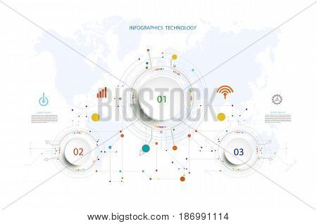 Infographic technology template hi-tech digital and engineering telecoms can be used for your businessbook cover template timeline banner diagram Infographics presentation Vector illustration