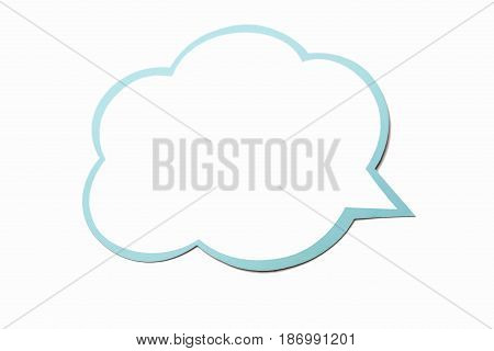 Colorful speech bubble as a cloud with blue border isolated on empty white background. Copy space