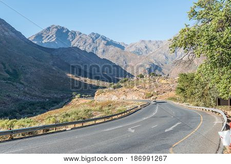 TULBACH SOUTH AFRICA - APRIL 2 2017: A view of Michells Pass through the Winterhoek Mountains between Tulbach and Ceres in the Boland area of the Western Cape Province