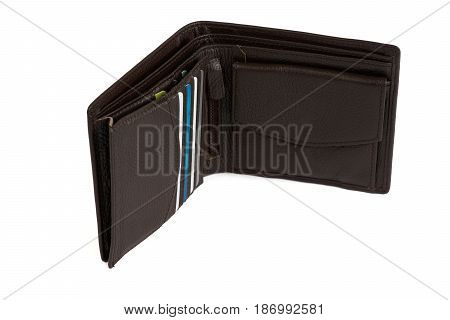 Brown leather wallet with credit card holder isolated on white background
