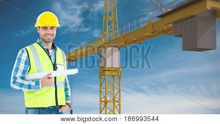 Digital composite of Architect holding blue prints against crane