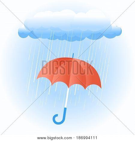 Rain Cloud With Red Umbrella