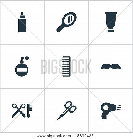 Vector Illustration Set Of Simple Barber Icons. Elements Blow Dryer, Container, Reflector And Other Synonyms Hairdryer, Comb And Aroma.