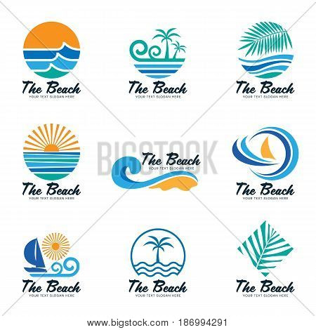The beach logo with sea wave coconut leaf boat and sun vector set design