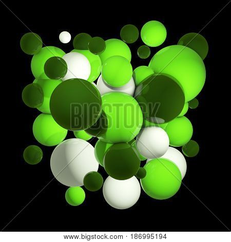 Flying spheres in empty space, abstract bubbles. Group of colored 3d spheres. Orb clouds. Green balls on dark background. Isolated round orbs. 3D illustration