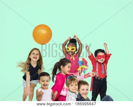 Group of kids playful happiness smiling togetherness