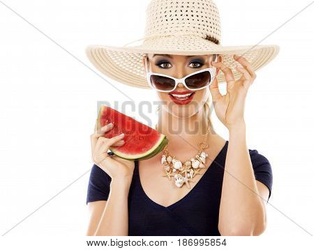 Fashion Summer Caucasian Woman With Perfect Skin