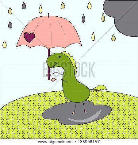 freehand drawn thought textured cartoon dinosaur cute