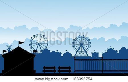 Silhouette carnival funfair with amusement scenery illustration
