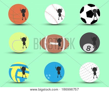 Black man character cartoon hang and clutch sports ball to prevent to falling down with green background. Flat graphic. logo design. sports cartoon. sports balls vector. illustration.