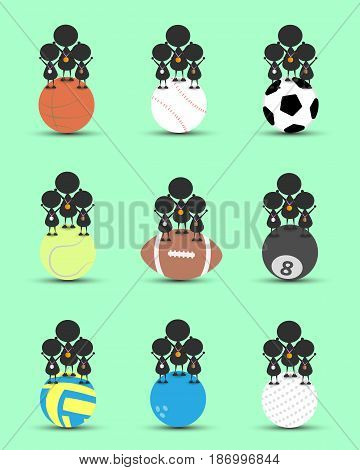 Black man character cartoon stand on single sports ball and get bronze silver gold medal . Flat graphic. logo design. sports cartoon. sports balls. victory sign. vector.