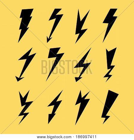 Lightning Signs Vector Set. Lightning Bolt Icons. Thunder Bolt Symbols