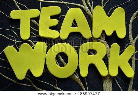 word team work on a  abstract colorful background