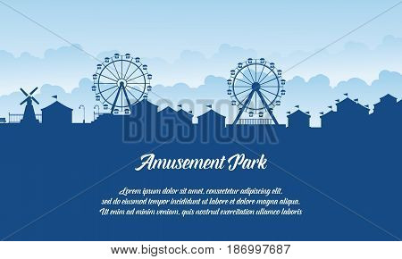 Silhouette amusement park scenery vector flat collection stock