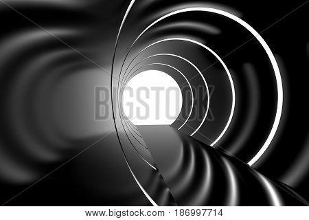 Spaceship future. Futuristic interior tunnel with round light. 3d rendering.