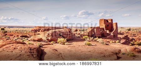 View of Wupatki National Monument ruins in Arizona.