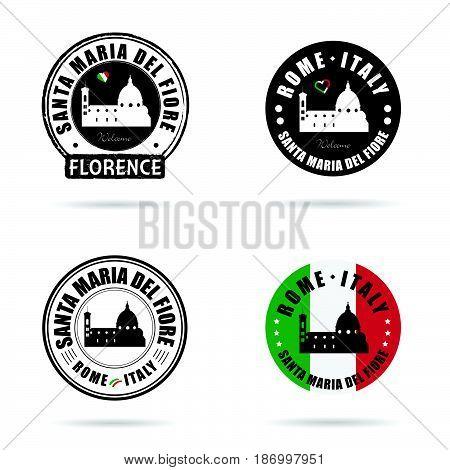 Seal Of Santa Maria Del Fiore Italy Set Illustration