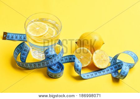 Blue Centimeter, Lemon With Freshly Squeezed Glass Of Citrus