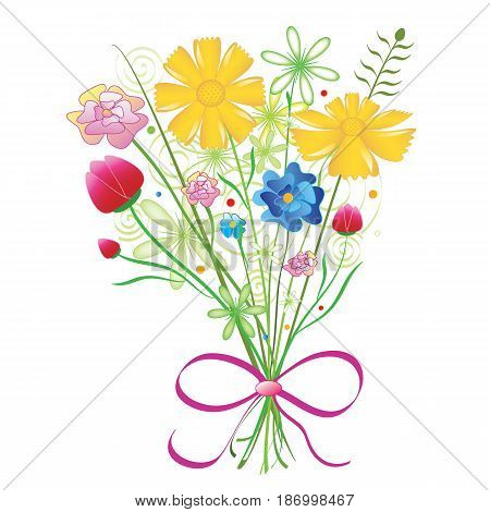 Bouquet of colorful flowers in vector format.
