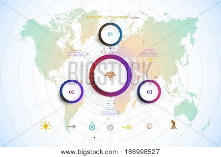 Infographic template timeline technology hi-tech digital and engineering telecoms can be used for your businessbook cover template bannerdiagram Infographic presentation Vector world map.