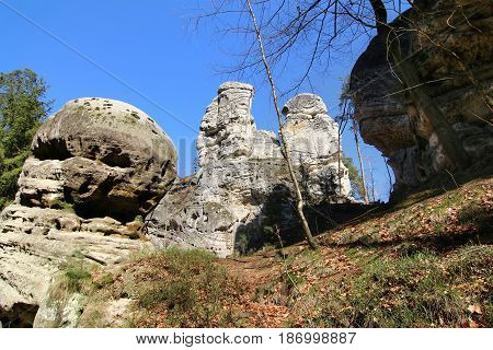Rock formations in the Bohemian Paradise Geopark, Czech republic