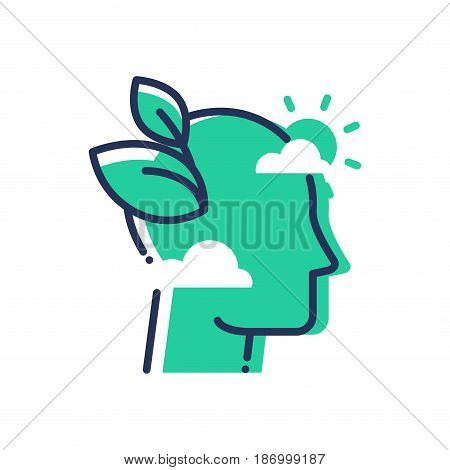 Green Mind - modern vector single line icon. An image of an emerald head in the clouds, sun, leaves. Representation of smart thinking, eco idea, inspiration, hope