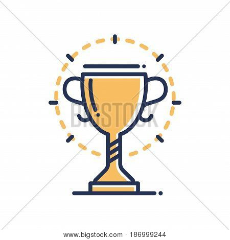 Trophy - modern vector single line icon. An image of a gold prize with a halo around it. Representation of victory, sport, competition, strength, will, power.