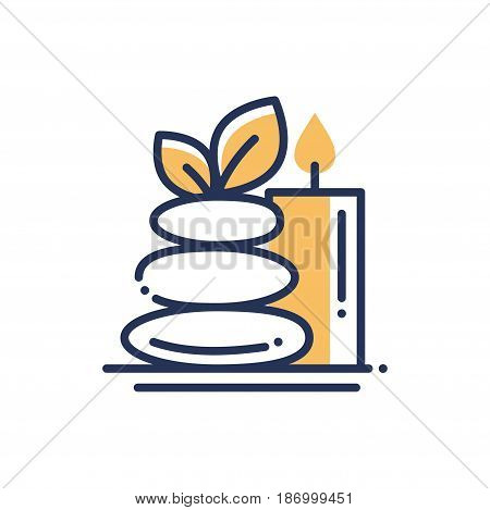 Spa Relaxation - modern vector single line icon. An image of a three stone pyramid, leaves and a lightened candle. Representation of rest, peace, health, care, mental and physical healing.