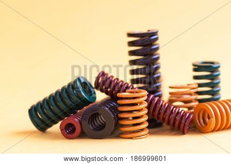 Abstract steel spiral coil springs collection set. Different hardness flexibility size colorful objects