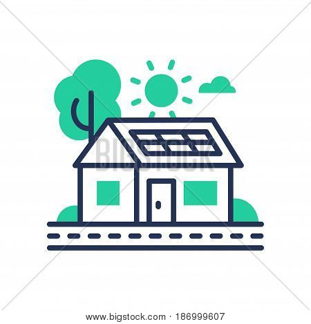 Eco House - modern vector single line icon. An image of a green domicile that runs on ecologically clean energy, tree, sun, cloud, battery. Representation of invention, inspiration, better tomorrow, healthy life