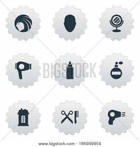 Vector Illustration Set Of Simple Hairdresser Icons. Elements Blow Dryer, Human, Peeper And Other Synonyms Male, Drying And Comb.