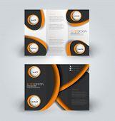 Brochure tri-fold design template for business, education, advertisement. Trifold booklet editable printable vector illustration. Black and orange color. poster