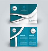 Brochure template. Business trifold flyer.  Creative design trend for professional corporate style. Vector illustration. Blue color. poster
