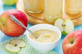 Healthy organic applesauce (apple puree mousse baby food sauce) poster