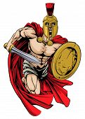 An illustration of a warrior character or sports mascot  in a trojan or Spartan style helmet holding a sword and shield poster