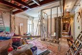 Interior of apartment with materials during on the renovation and construction ( remodel wall from gypsum plasterboard or drywall) poster