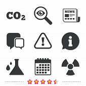 Attention and radiation icons. Chemistry flask sign. CO2 carbon dioxide symbol. Newspaper, information and calendar icons. Investigate magnifier, chat symbol. Vector poster