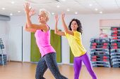 Happy female athletes doing aerobics exercises or Zumba dance workout to lose weight during group classes in fitness center. poster
