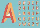 Impossible shape font. Memphis style letters. Colored letters in the style of the 80s. Set of vector letters constructed on the basis of the isometric view. Low poly 3d characters. Vector. poster