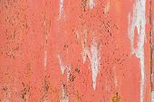 Corroded metal background. Rusted painted metal wall corrosion with streaks of rust poster