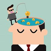 thief stealing bulb from a head .Piracy,vector illustration poster